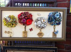 Repurpose out dated and broken jewelry pieces into a composition anyone would love to display!!
