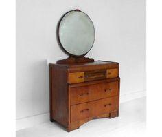Vintage Art Deco Wood Dresser  Mid Century Cabinet by Hindsvik