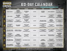 Hammer and Chisel Workout Schedule, Hammer and Chisel Schedule, beachbody coach