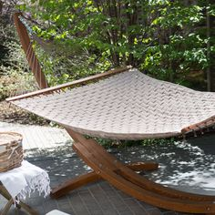 Have to have it. Island Bay Comfort Weave Hammock with Wood Arc Stand - $404.98 @hayneedle