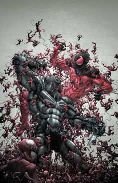 Agent Venom and Scarlet Spider being enveloped by Carnage.