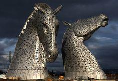 Steal Horse Heads Kelpies, Grangemouth, UK