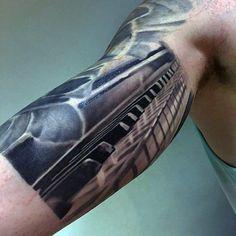 60 Piano Tattoos For Men - Musikinstrument Ink Design-Ideen - Nachsterluxus. Tattoo L, Tattoo Video, Tattoo Shows, Chest Tattoo, Key Tattoo Designs, Tattoo Sleeve Designs, Tattoo Designs For Women, Sleeve Tattoos, Music Tattoo Sleeves