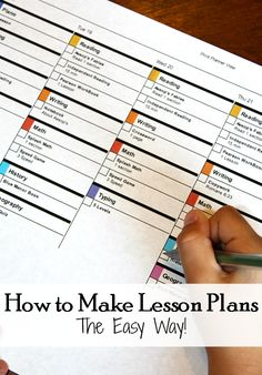 How to Make Easy Lesson Plans How to Make lesson plans the easy way! - Love this new lesson planner template. Takes me just 15 minutes to plan out my semester. Lesson Planner, Teacher Planner, Teacher Binder, Teacher Organization, Organized Teacher, Organizing, The Plan, How To Plan, Homeschool Curriculum