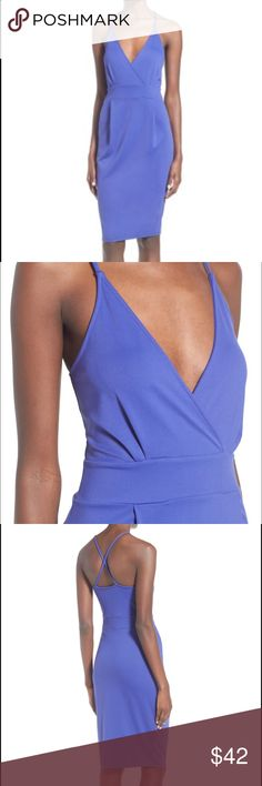 Blue Leith Wrap Body Con Medi V-Neck Dress Leith dress. 90% Nylon, 10% Spandex. Preowned, Worn once.  Purchased from Nordstrom, but is now sold out. Size: XL Leith Dresses