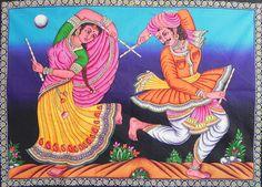 Dandiya Raas - Print with Sequin - 31.5 x 43.5 inches