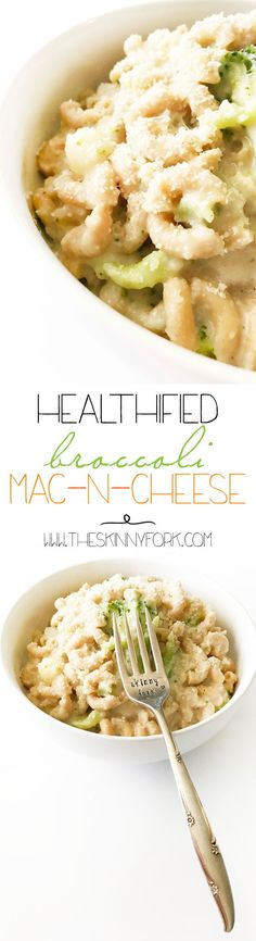 Here's the Healthified Broccoli Mac-N-Cheese of your dreams.  It's loaded with obvious veggies and sneaky ones too! Plus, it's pretty quick and easy to make too. TheSkinnyFork.com | Skinny & Healthy Recipes