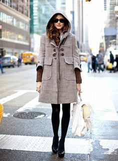 This Miu Miu Hooded Wool Duffle Coat shown above on Olivia Palermo is adorable! Layer this jacket over a sweater and shirt, completing the look with a mi Olivia Palermo Stil, Olivia Palermo Lookbook, Nyc Fashion, Fashion Moda, Asos Fashion, Street Fashion, Fashion Trends, Winter Wear, Autumn Winter Fashion