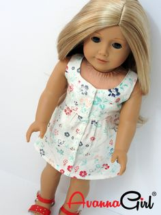 Surfrider Sundress for American Girl Doll, 18 Inch Doll This trendy little dress is perfect for summer weather. Featuring, front pockets and faux button front closure with tiny snaps underneath it is