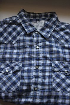 bd053d1e Aeropostale Mens Long Sleeve Plaid Shirt Large Blue and White Pearl Snaps # Aeropostale #PearlSnapsDownFront