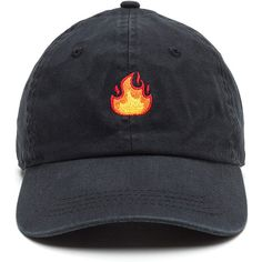 Fire Drill Embroidered Flames Cap ❤ liked on Polyvore featuring accessories, hats, black, caps, head, embroidered hats, drill hat, embroidery caps, embroidery hats and cap hats