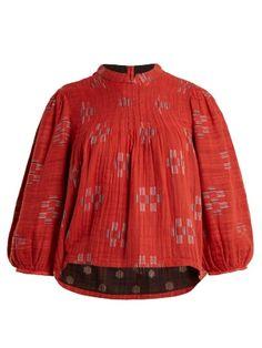 Mallorca Jolie geometric-jacquard cotton top