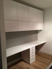 Ikea Hack wall cabinets and desk- Ikea Hack Oberschränke und Schreibtisch Ikea Hack wall cabinets and desk - Ikea Home Office, Small Home Offices, Home Office Furniture, Ikea Office Hack, Pipe Furniture, Furniture Vintage, Furniture Design, Office Table, Cool Office Space