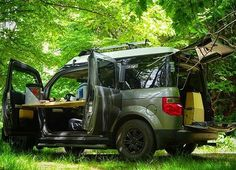 The Honda Element Micro Camper System. Install or remove in minutes without modification to the Element. ••••• Pre-orders yours today at FifthElementCamping.com ••••• Ecamper poptop by @ursaminorvehicles ••••• #fifthelementcamping #hondaelement #modular #microcamper #interior #poptop #longlivetheelement