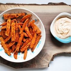 Delicious baked sweet potato fries with a yummy zesty ranch dipping sauce.