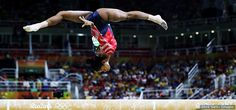 Gabby Douglas competes on the balance beam during women's qualification for artistic gymnastics at Rio 2016 Olympic Games at the Rio Olympic Arena on Aug. 7, 2016 in Rio de Janeiro.