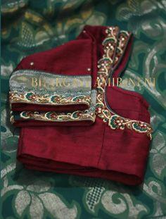 designer zardosi blouse collection from bhargavi amirineni Wedding Saree Blouse Designs, Half Saree Designs, Saree Blouse Neck Designs, Fancy Blouse Designs, Blouse Patterns, Mirror Work Blouse, Hand Work Blouse Design, Churidar Designs, Embroidery Blouses