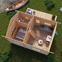 The cottage has two interior doors with Small Log Cabin, Tiny Cabins, Tiny House Cabin, Tiny House Living, Small House Plans, House Floor Plans, Shed Homes, Cabin Homes, Summer House Interiors