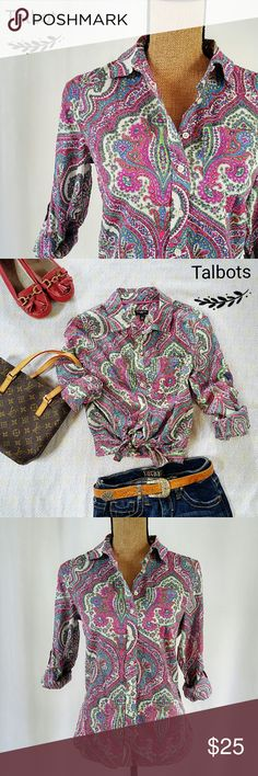 Talbots Paisley Casual Blouse NWOT Pretty bTalbota blouse with roll-up sleeves. 100% cotton, light weight.   >> Be sure to check out other cute items in my shop. 10% off on bundles and you save on shipping too! >> New items are added daily!  >> All REASONABLE offers accepted. >> Please follow me so you don't miss out on the cute new arrivals!  Please follow me on instagram @lucybrucey Talbots Tops Blouses