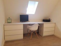Bureau onder schuin dak (- Ikea Malm--) (--Eames DSW--)