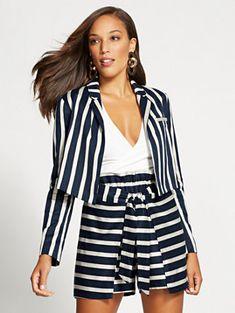 fd518e954546 Navy Stripe Crop Blazer - Gabrielle Union Collection