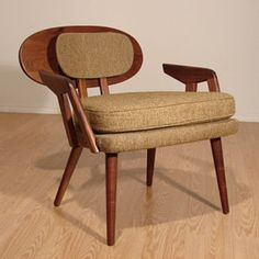 Unusual Teak Arm Lounge Chair Danish Mid-Century Modern Eames era 1960s