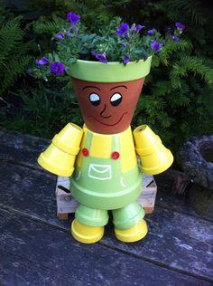 Personnage en pot de terre cuite recherche google clay for Recherche jardinier 77