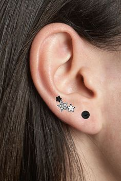 316L Surgical Steel Ear Cartilage Helix Tragus Stud Earring Ring Jewelry Black Clear Stars 16G