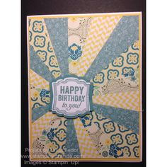 Happy Birthday To You Sunburst Card Using Stampin' Up! All Abloom DSP Stack and Label Love Stamp Set/ www.stampinwithlinda.com