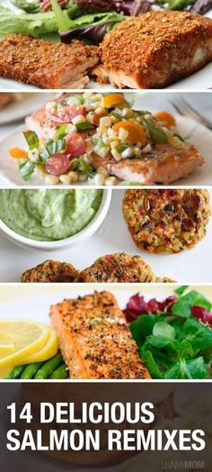 If you're looking to spice up your traditional shrimp dishes, try out these healthy salmon remixes instead. Pin now, check later. Healthy Salmon Recipes, Fish Recipes, Seafood Recipes, Vegetarian Recipes, Healthy Cooking, Healthy Eating, Cooking Recipes, Healthy Food, Planning Menu