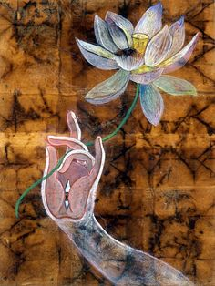 The Jewel in the Lotus (mixed media on wood panel)