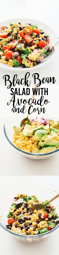 Recipes Vegetarian A healthy and delicious Vegan Black Bean Salad with Corn and Avocado In A Tangy Lime Dressing - No-Cook, Full Of Heart Healthy Fat and Loaded With Flavor Heart Healthy Recipes, Healthy Drinks, Veggie Recipes, Whole Food Recipes, Salad Recipes, Healthy Snacks, Vegetarian Recipes, Healthy Eating, Cooking Recipes