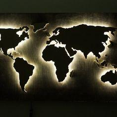 60 Boyfriend Gift Ideas Led Wall Art Wood World Map World Map Wall Art