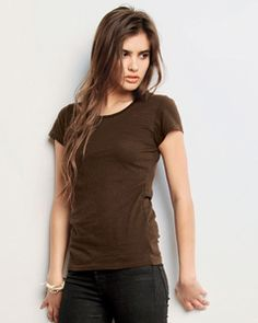 B8414 Ladies' Tissue Jersey Short-Sleeve T-Shirt Semi-sheer and ultra soft Feminine silhouette Silicon garment-washed