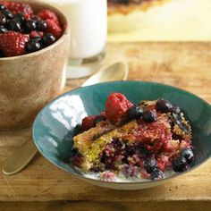 Grilled Cornmeal and Summer Berry Clafouti RecipeDelish