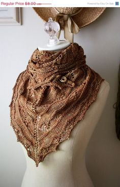 Knitting Pattern / Joyeux pizzo Shawlette / digitale PDF Download