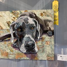 """Gracie"" fabric collage, Barbara Yates Beasley Dog Quilts, Animal Quilts, Machine Quilting, Art Quilting, Quilt Art, Landscape Quilts, Dog Crafts, Dog Paintings, Small Quilts"