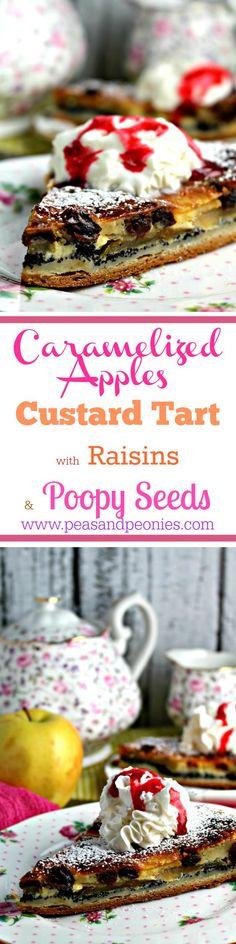 Caramelized Apple Custard Tart - Peas and Peonies #appletart #custardtart #poppyseed #fallbaking