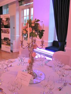 Candelabra with simple Flower Posy. Spring Grove, Simple Flowers, Candelabra, Wedding Flowers, Wedding Inspiration, Table Decorations, Rose, Home Decor, Decorations