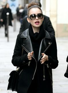 All in black- Lily Collins