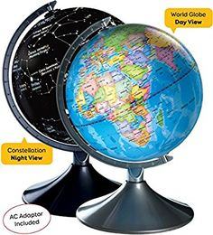 Amazon.com: Interactive World Illuminated Globe For Kids - 2-In-1 Standing Political Earth Sphere By Day & Glowing Star Constellation Map At Night - AC Adapter Included: Office Products