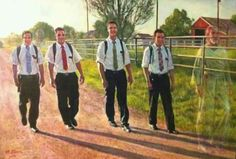 This makes me CRY. Missionaries♥ These are Elders from my mission in a painting commissioned by my Mission President. Good guys, all of them:)