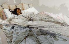 H. Craig Hanna, The white bed, 2012, acrylique et encre sous Perspex, 235 x 155 cm (hors cadre) © H. Craig Hanna