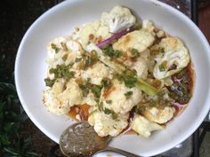 Cauliflower steaks with homemade sauce: soy sauce with grated ginger ...