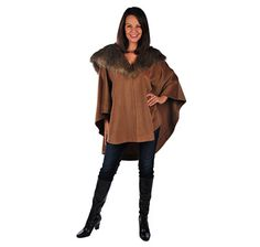 From the A by Adrienne Landau Collection, take advantage of the exceptional style of this cape featuring a removable faux fur collar. Faux Fur Collar, Cape, Blouse, Amazing, Collection, Products, Women, Style, Fashion