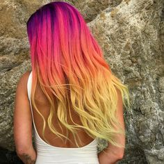 @hairgod_zito is the artist... Pulp Riot is the paint. #pulpriothair #hair #haircolor #beauty #hairstyle #sunset