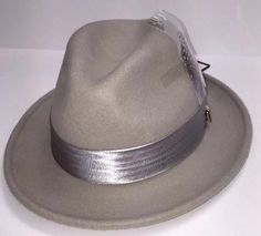 a657da90ef1 Men s Bruno Capelo Giovani Light Gray100% Australian Wool Crushable Fedora  Hat  BrunoCapelo  FedoraCrushable