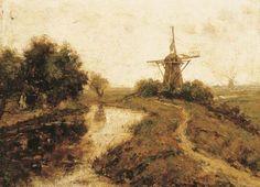 Paul Joseph Constantin Gabriël - Molens bij een rivier