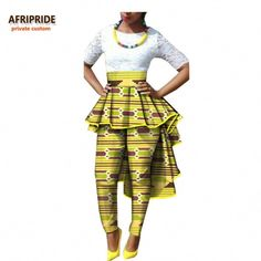 2017 autumn women african pants AFRIPRIDE private custom ankle-length women casual pants with ruffles batik cotton African Print Pants, African Print Dresses, African Dresses For Women, African Wear, African Attire, African Fashion Dresses, African Women, African Prints, Ankara Fashion