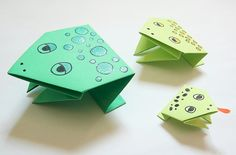 Origami frogs, namely simple origami jumping frogs, that you and the kids can make in just a few minutes each, are the perfect craft for the Passover seder. And of course they'd work very nicely with the origami pyramids I. Origami Wedding, Origami Box, Origami Stars, Origami Easy, Origami Paper, Oragami, Origami Flowers, Simple Origami For Kids, Kids Crafts